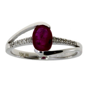 White Gold 1ct Ruby And Diamond Accent Bypass Ring